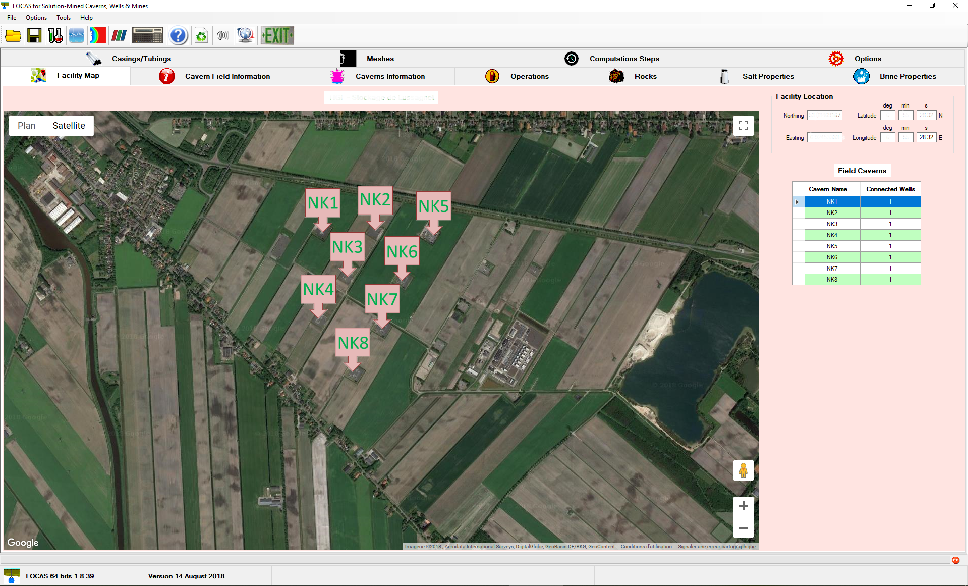 Facility overview through a Google map embedded